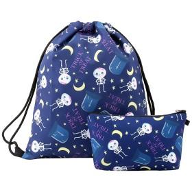 janefery 巾着バックパックジムバッグ旅行学校バックパック防水女性バッグ