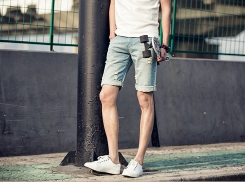 【JP.美日韓】 單寧牛仔短褲 短褲 翻摺 潮流短褲 牛仔短褲 破洞另售 破短褲