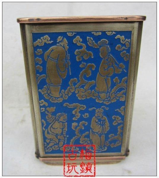 文房四寶文房用品 送禮佳品 景泰藍八仙 方形銅筆筒