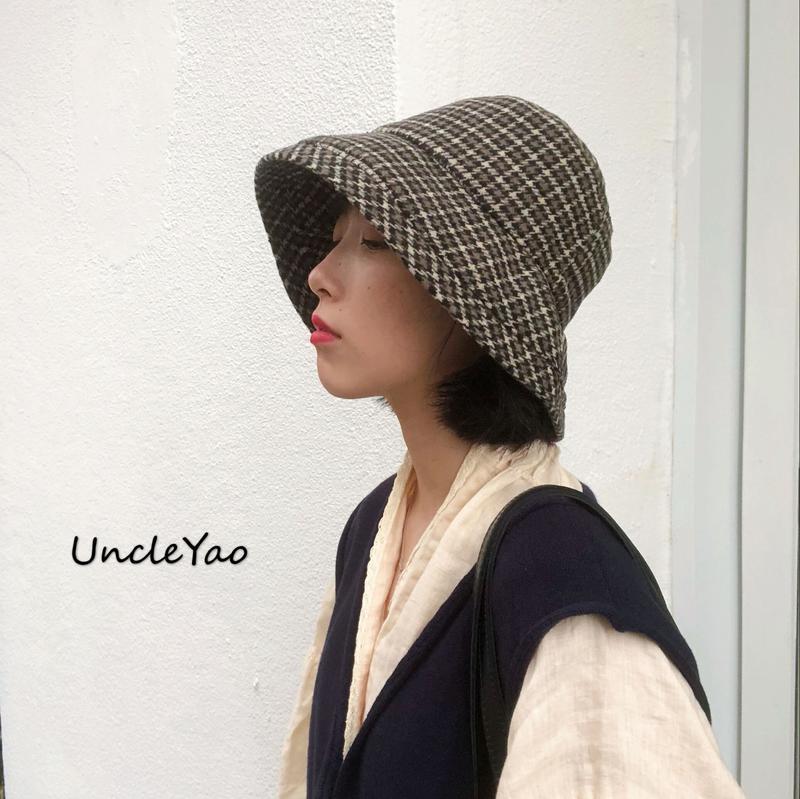日本小眾設計師款復古咖啡色系千鳥格紋漁夫帽大檐帽子女1入