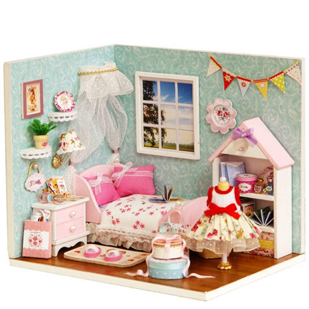 【WT16122116】 手製DIY小屋 手工拼裝房屋模型建築 幸福系列-幸福小天地