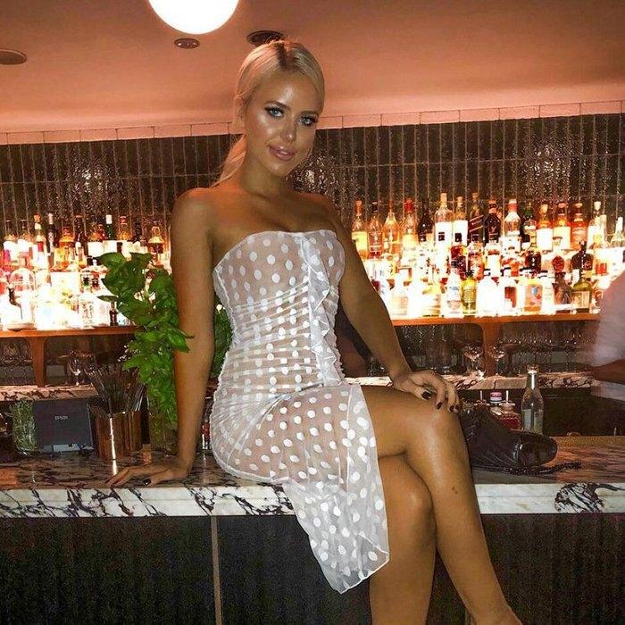 歐美新款女裝 一字領點點薄紗修身性感包臀連身裙洋裝 D1733418