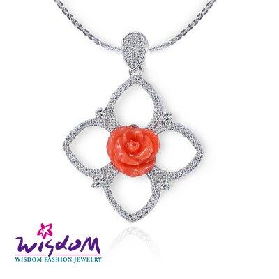 威世登 珊瑚銀墜-天然海洋紅珊瑚 紅玫瑰墜飾(不含鍊)--情人禮、生日禮、流行款、熱銷款-  CD00100-EEXX