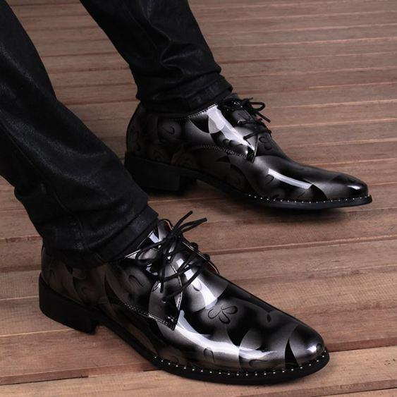ORP男士韓版潮流印花內增高皮鞋青年英倫時尚尖頭髮型師男鞋  遇見生活