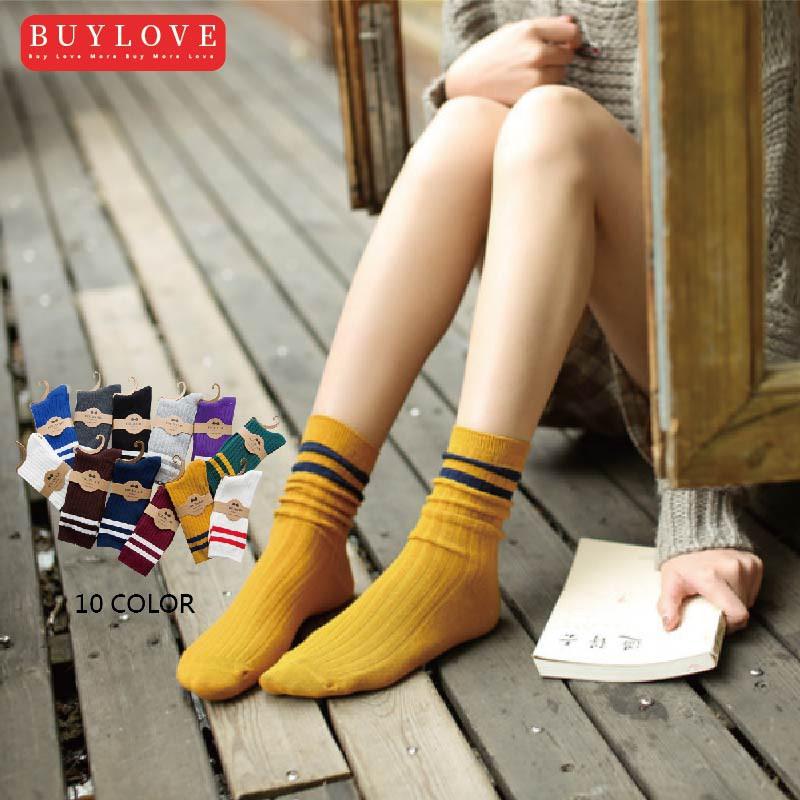 【買到戀愛】學院風邊條暖暖襪長襪【W1575】