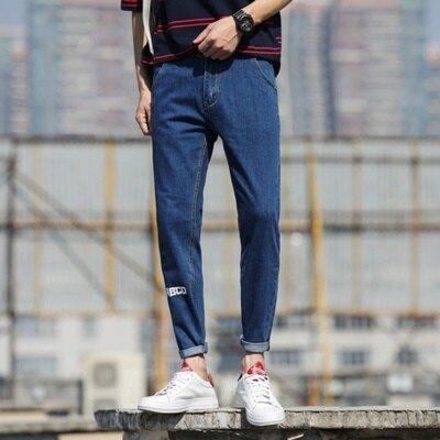 九分褲休閒褲-簡約字母印花牛仔男褲子2色73rb4【獨家進口】【米蘭精品】
