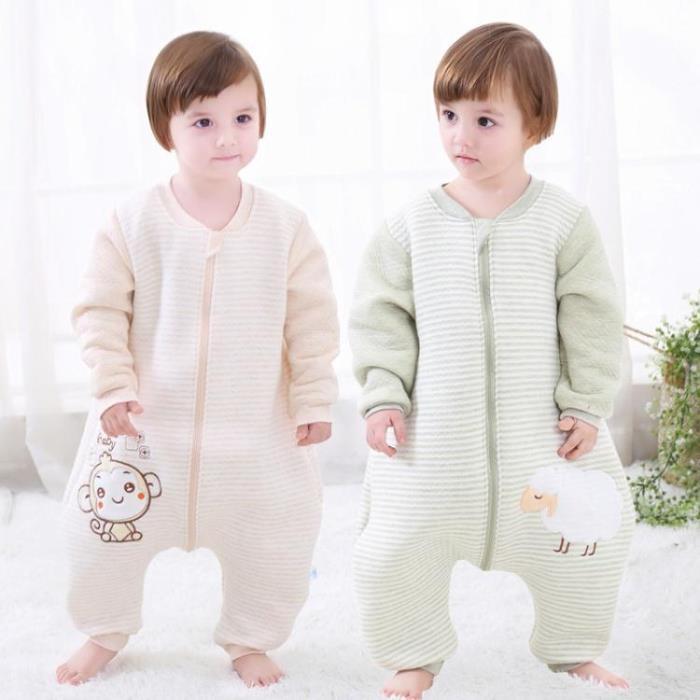 寶寶睡袋0-1-2-3歲男女嬰兒童春秋季連身衣加厚款分腿防踢被