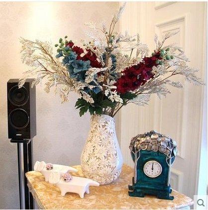知根仿真花歐式花瓶套裝花藝客廳家居裝飾花絹花假花擺設花藝(圖一)