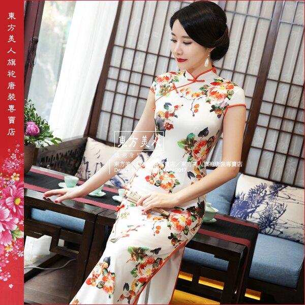 東方美人旗袍唐裝專賣店 澄香 仿絲軟緞時尚印花半月包袖長旗袍