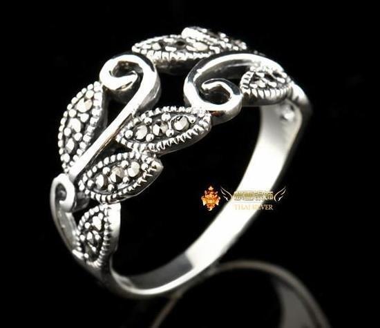銀飾品手工複古泰銀馬克賽銀鏤空戒指尾戒女款