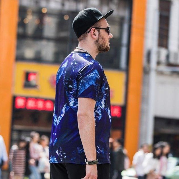FINDSENSE品牌監製 大尺碼男裝 3D印花加肥加大圖案T薄款個性短袖夏季男大尺碼寬鬆透氣T恤速乾排汗T