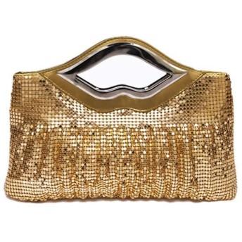 YIYUTING ハンドバッグの女性のイブニングバッグ 手作りイブニングクラッチバッグスパンコールビーズファッションデザイナーの財布 (色 : Golden)
