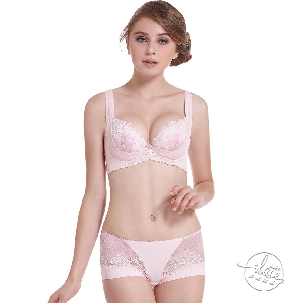LADY 涼感纖體美型系列 蕾絲機能調整型成套內衣 E-G罩 平口配褲 ( 漾彩粉 )