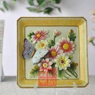 歐式鄉村手繪陶瓷掛盤 滿園春色雛菊 家居飾品擺設裝飾盤