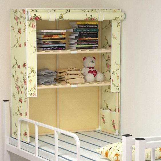 大學生宿舍上下鋪收納神器寢室簡易床上衣櫃床頭實木收納架儲物櫃