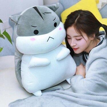 可愛倉鼠毛絨玩具抱枕公仔布娃娃小玩偶女孩睡覺床上兒童生日禮物  聖誕節禮物