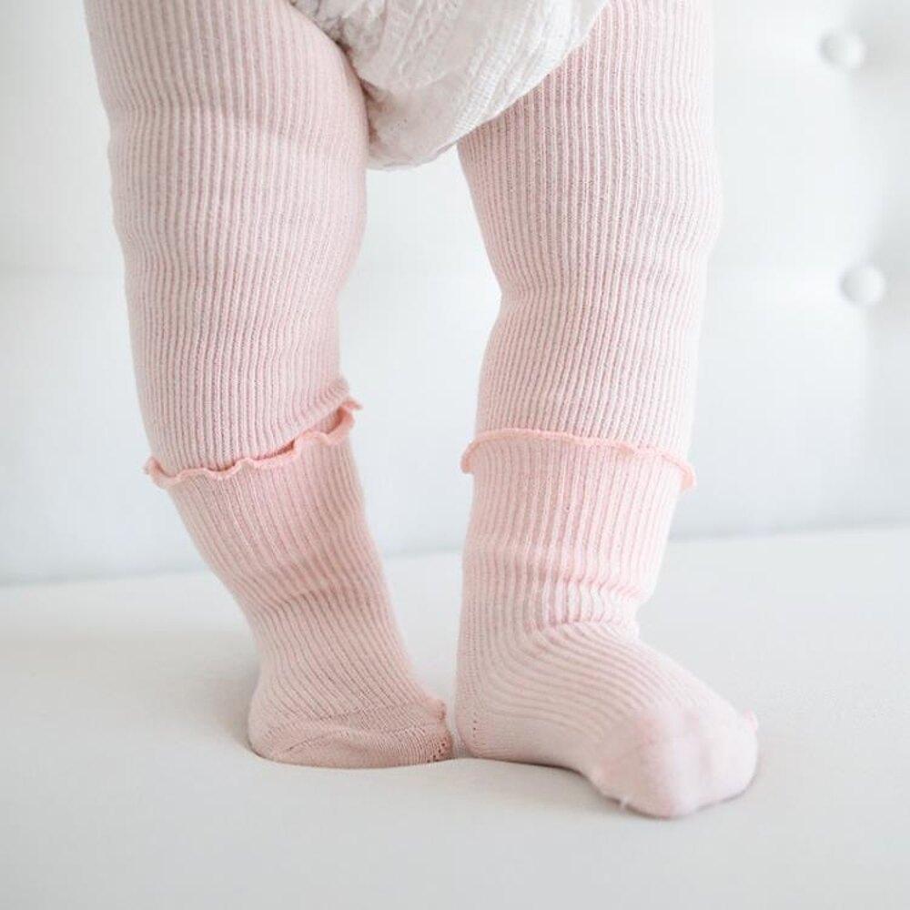 秋冬新款寶寶0-2歲連褲襪女童褲襪兒童打底褲襪九分褲加襪子 薇薇