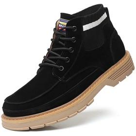 [AWOR] 厚底ブーツ メンズ カジュアルシューズ 秋冬 ブーツ サイドジップブーツ 滑リ止め 保温 耐摩耗性 スウェード スエード調 快適 防滑 シューズ マーチンブーツ カジュアル 25.0cm ビジネス ショートブーツ 編み上げブーツ ブラック