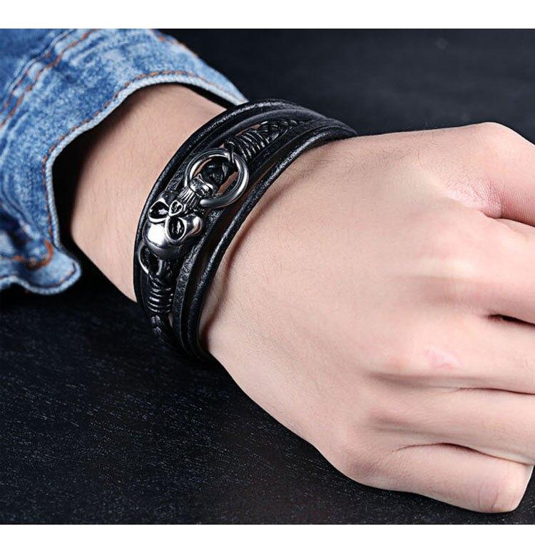 【5折超值價】日韓流行時創意骷顱頭多層皮手環