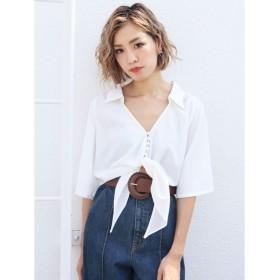 エモダ ハーフスリーブフロントタイシャツ レディース ホワイト F 【EMODA】