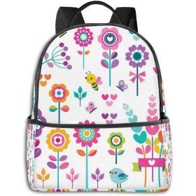 ファッションミニトラベルバックパック、10代の少年少女女性男性-かわいい花のかわいいパターンのかわいい学校のショルダースクールバッグ。