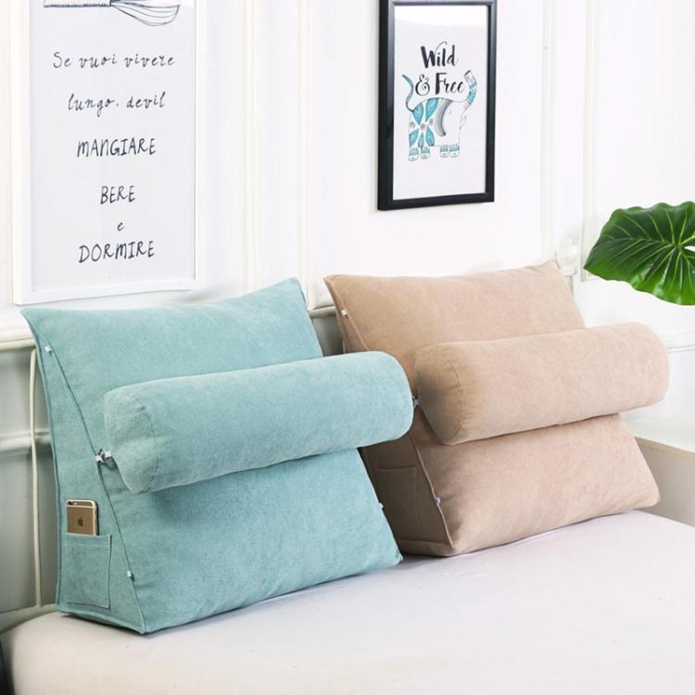 床頭大靠背三角靠墊沙發護腰靠墊辦公室靠背墊床上護頸靠枕可拆洗 領券下定更優惠