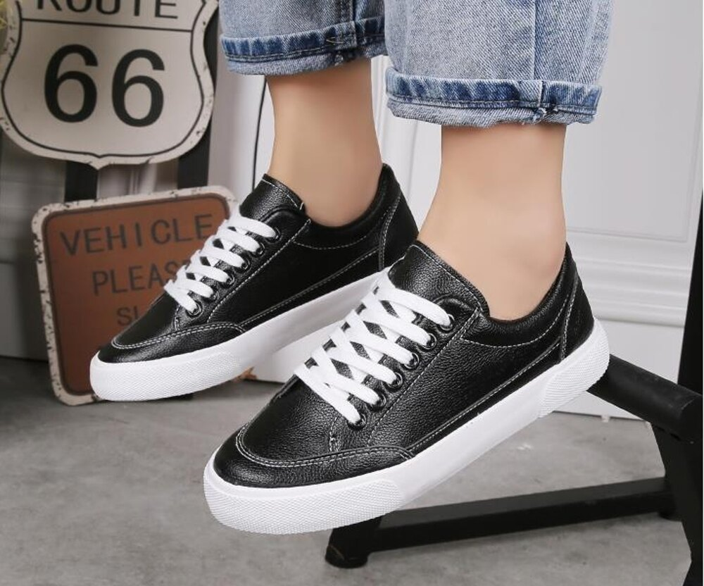 小白鞋         小白鞋女鞋學生平底百搭帆布鞋韓版白鞋白色板鞋  瑪麗蘇