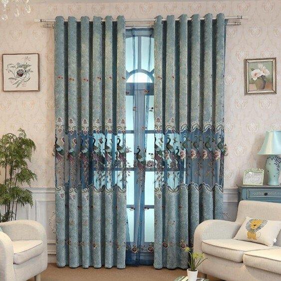 定制窗簾高檔雪尼爾中式遮光客廳臥室成品提花繡花布成品落地窗紗    伊卡萊生活館  聖誕節禮物