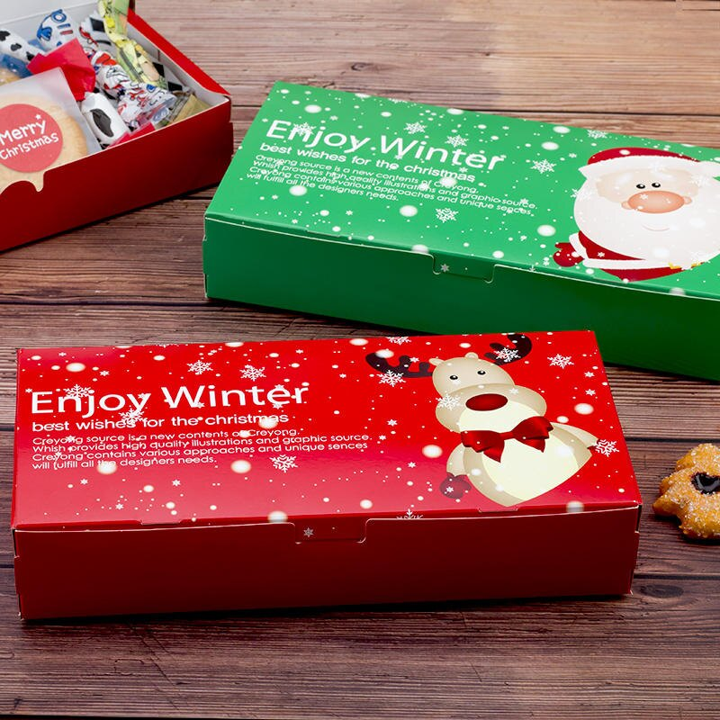 紅綠色 圣誕節長方形姜餅盒 老人鹿餅干小西點 牛軋糖 烘焙包裝盒1入