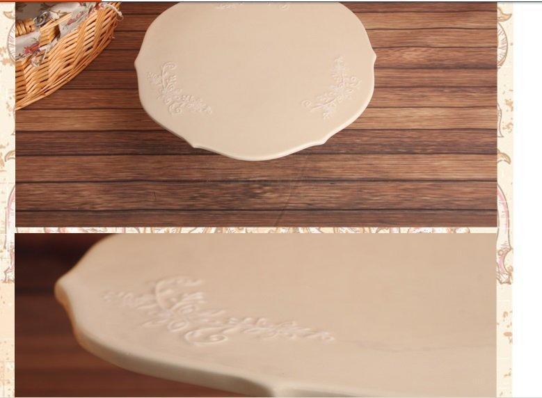 歐式米色浮雕印花陶瓷花邊蛋糕盤 高腳底座蛋糕盤 披薩盤個性簡約