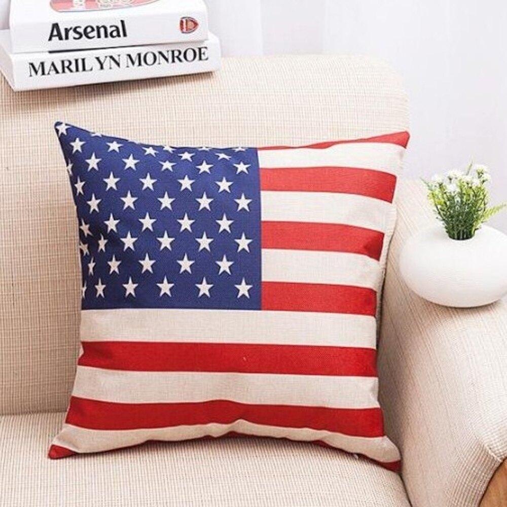 世足賽 國旗風 歐美紅藍國旗系列棉麻抱枕套 枕頭套【BlueCat】【JI1280】