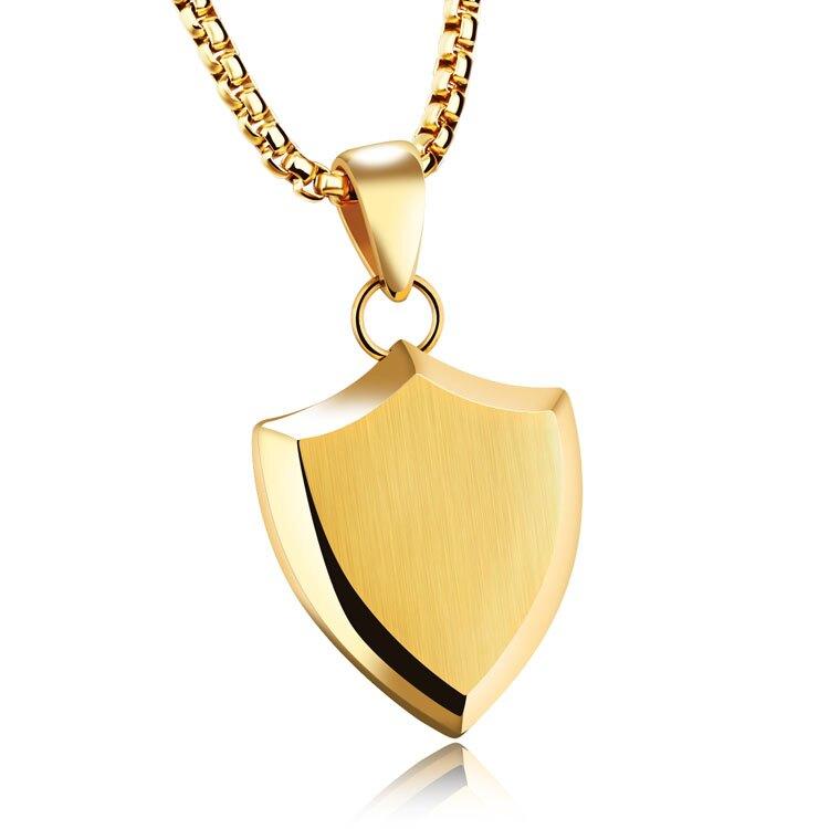 【5折超值價】情人節禮物流行簡約時尚三角形盾牌造型鈦鋼流行男款項鍊