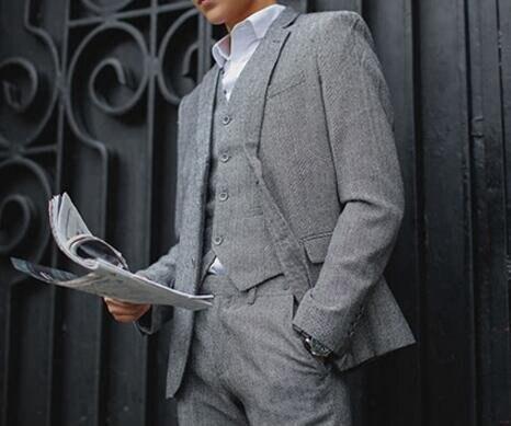 FINDSENSE品牌 韓國男 羊毛呢人字紋 三件式西裝外套 成套西裝 修身西裝 西裝外套 外套+背心+褲子