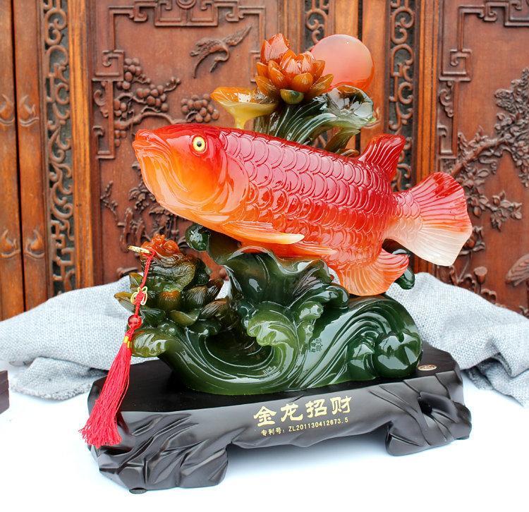 大號招財金龍魚風水魚開業禮品家居裝飾品樹脂工藝品辦公室擺件設