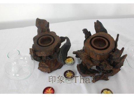 柚木燭台 工藝品裝飾品原生態燭台擺件 會所燭台擺設