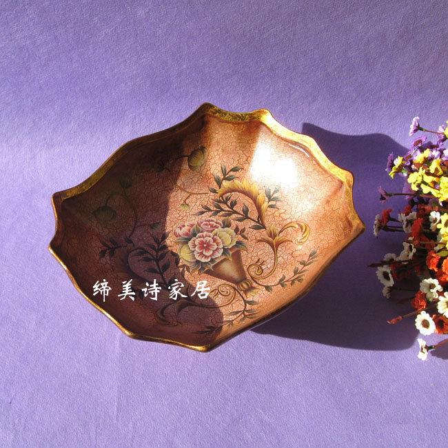 歐式水果盤 田園彩繪 陶瓷糖果盤 新房裝飾擺件