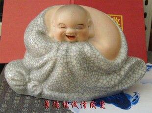 景德鎮瓷器工藝品 哈哈羅漢笑佛 雕塑開片藝術陶瓷 擺設送禮(3)