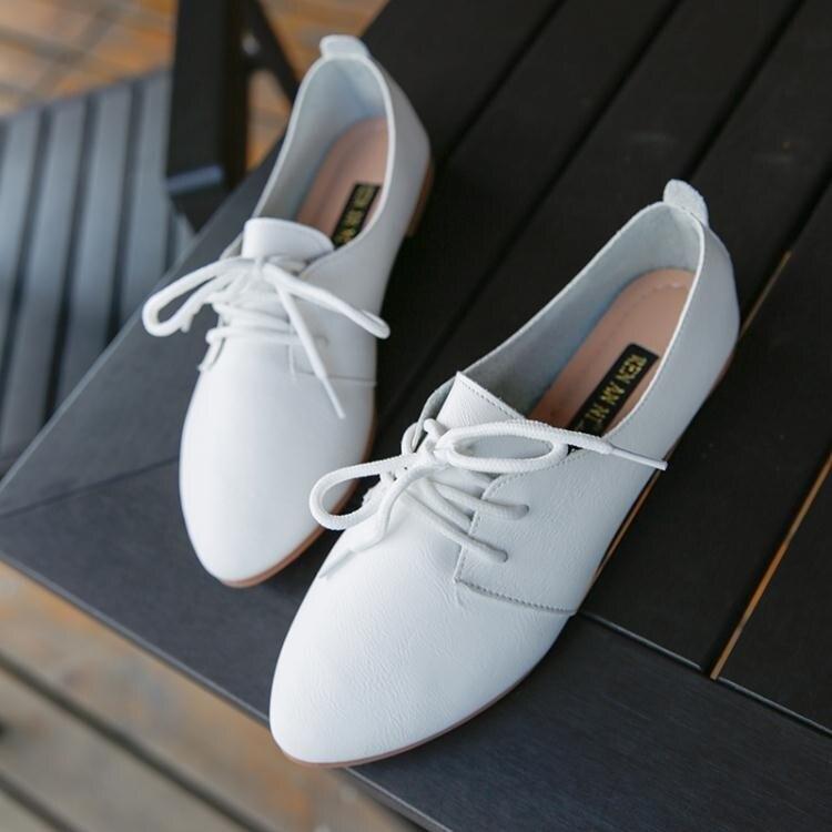 小白鞋女百搭女鞋繫帶小皮鞋牛津鞋休閒鞋透氣平底平跟單鞋   居家物語