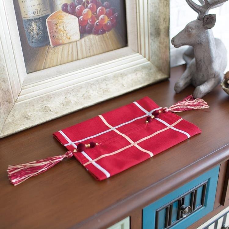 [超豐國際]現代大紅簡約大方格時尚紙巾盒紙巾套抽取式紙巾盒粘1入