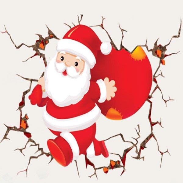 聖誕老人穿牆 創意可重覆貼壁貼 玻璃櫥窗裝飾 室內 節日佈置 聖誕節 【YV4065-1】BO雜貨