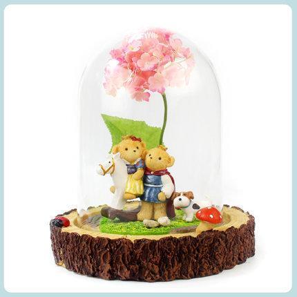 創意玻璃罩擺件童話小熊家居裝飾浪漫情人節禮物擺件樹脂禮品