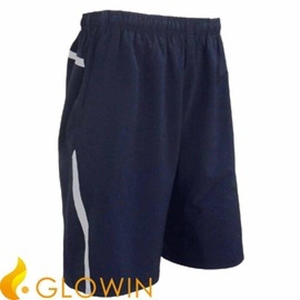【GLOWIN 男款 運動短褲 藍 】鬆緊褲頭/運動短褲/戶外/休閒短褲/短褲SI161MS0359