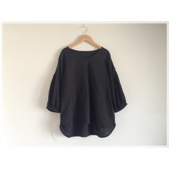SALE【フリーサイズ】バルーン袖のVネックプルオーバー(ダブルガーゼ/黒)