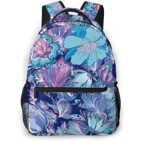 バックパック 色々な紫色花 Pcリュック ビジネスリュック バッグ 防水バックパック 多機能 通学 出張 旅行用デイパック
