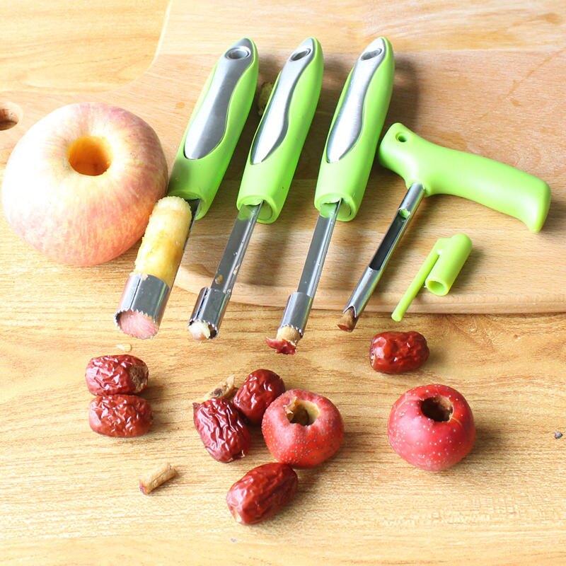 4件套山楂紅棗去核器不銹鋼蘋果去核抽取芯器水果去籽工具套裝1入