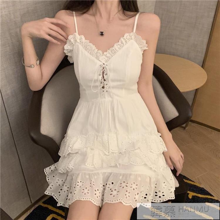 洋裝 夏季新款性感V領吊帶裙子修身A字無袖短裙蕾絲花邊連身裙女裝