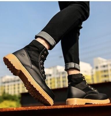 馬丁靴靴子秋季雪地男鞋高筒皮鞋冬鞋中筒皮靴英倫軍靴棕色工裝靴 秋冬新品特惠