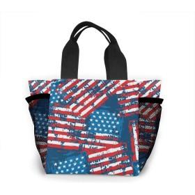 アメリカアメリカ国旗愛国的 大容量ハンドエコバッグ ランチバッグ買い物袋手提げ袋両側の独立した網袋 通勤 通学 旅行 One Size