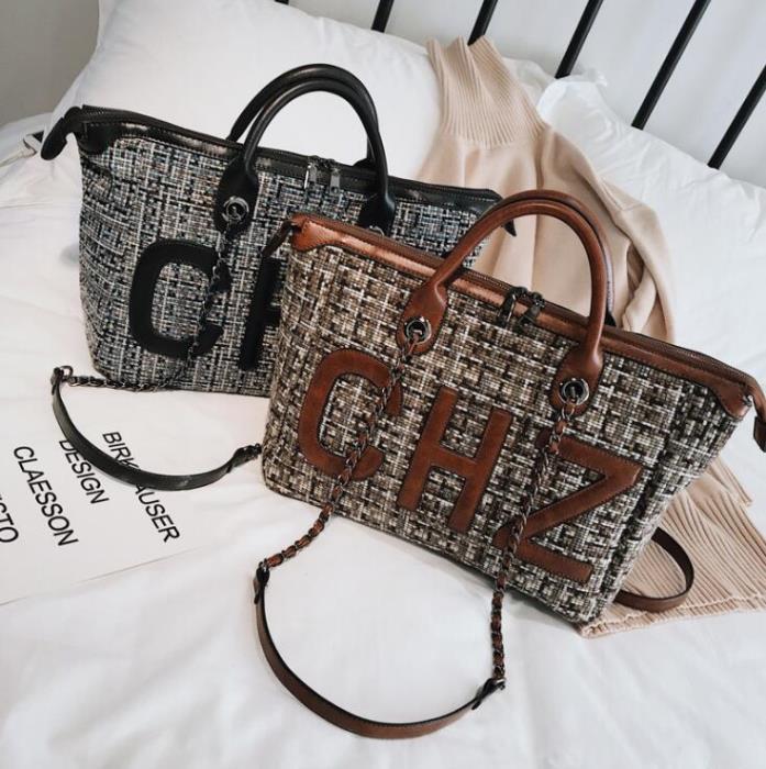 韓版女包 時尚百搭女包包 女款呢子格紋手提包 女士大容量手提包 單肩斜跨鏈條包女 女款斜挎包