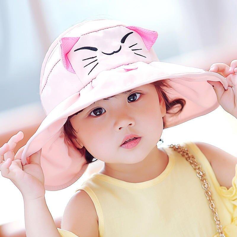 親子兒童帽子可折疊防曬帽寶寶遮陽帽夏季男女童太陽帽沙灘空頂帽1入